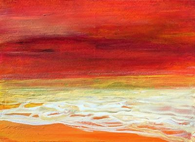 """Abstract Seascape Painting """"Sunset II"""" by California Artist Cecelia Catherine Rappaport"""