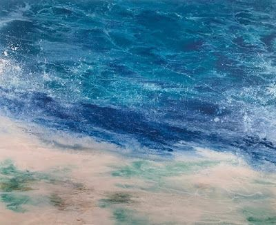 """Contemporary Seascape, Abstract Seascape, Coastal Living Decor, Fine Art , Stormy Sea, """"FUN AT HIGH TIDE-Racing the Tide Series"""" by International Contemporary Artist Kimberly Conrad"""
