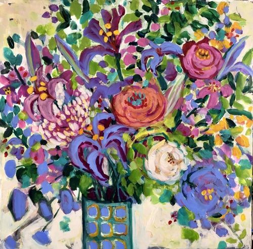 """Contemporary Expressionist Bold Still Life Flower Art Painting """"Saturday Bouquet"""" by Santa Fe Artist Annie O'Brien Gonzales"""