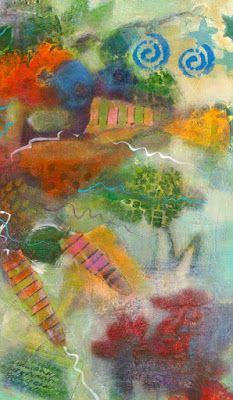 """Contemporary Abstract Fine Art Painting """"Dream Shapes Abstract 4"""" by Illinois Artist Marilyn Weisberg"""