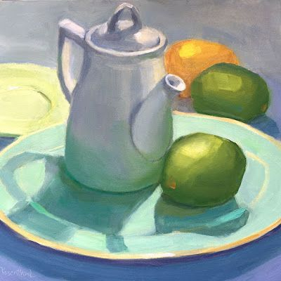 White Teapot on Teal Plate with Citrus