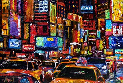 """Cityscape New York City """"Times Square-2"""" Abstract Urban Paintings Fine Art Painting """"Times Square"""" by Debra Hurd"""