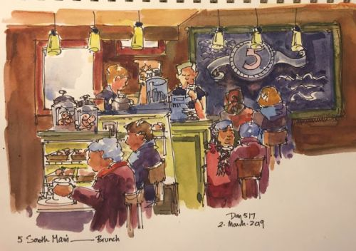 """Day 516 """"Snow Day Brunch"""" ink & watercolor"""