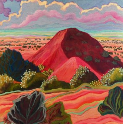 "New Mexico Landscape Painting,Bold Expressive Landscapes ""RED HILL CASA del SOL"" by Santa Fe Artist Annie O'Brien Gonzales"