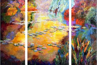 """""""Reflective Radiance"""" textured oil painting of Monet's Garden by Niki Gulley"""