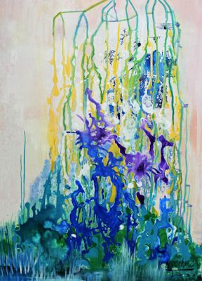 """Abstract Expressionism Art ,Contemporary Painting """"Conservatory"""" by International Contemporary Abstract Artist Arrachme"""