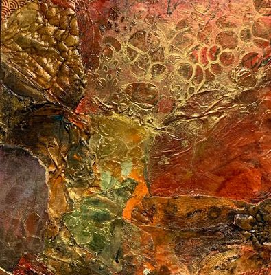 "Contemporary Painting, Mixed Media Art, Red Art ""Chasing Coins"" by Florida Contemporary Artist Mary Ann Ziegler"