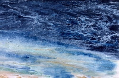 "Coastal Living Art Painting, Abstract Beach Art, Seascapes, Seascape Painting, Impressionist Seascape, Ocean Waves, Fine Art For Sale ""Late Afternoon Storm"" by International Contemporary Artist Kimberly Conrad"