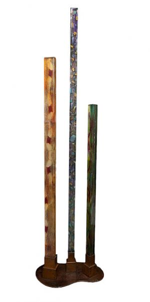 "Fine Art Free Standing Vertical Sculpture Resin, Steel Cast Acrylic ""Elements"" by Santa Fe Artist Sandra Duran Wilson"