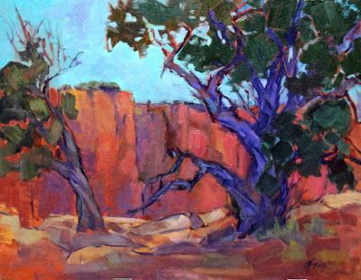 "Contemporary Impressionist Colorado Landscape Painting, Fine Art Oil Painting, Tree, ""Canyon Colors"" by Colorado Contemporary Fine Artist Jody Ahrens"