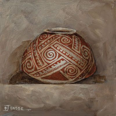 """Still Life Native American Pot, Fine Art """"HOHOKAM-RED ON BUFF NATIVE AMERICAN POT"""" by Painter of the American West Nancee Jean Busse"""