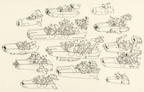 A drawing of some animals in vehicles travelling towards the left