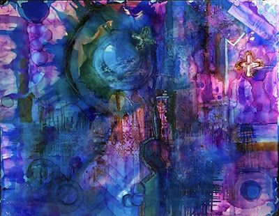 "Contemporary Abstract Painting, Alcohol Ink Art ""CYBORG"" by New Orleans Artist Lou Jordan"