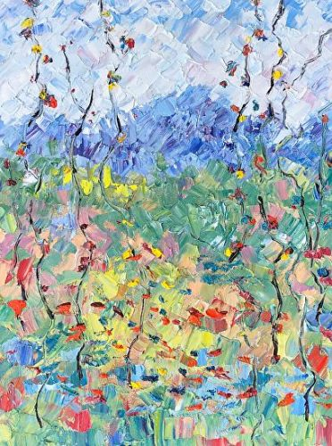 "Abstract Palette Knife Oil Aspen Tree, Flower Landscape Painting ""Summer Celebration"