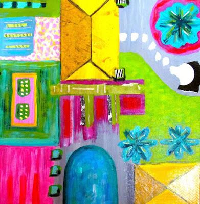 "Colorful Contemporary Abstract Art Painting ""Garden Plan"" by Santa Fe Contemporary Artist Melanie Birk"