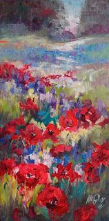 New Contemporary Wildflower Painting by Texas Artist Niki Gulley