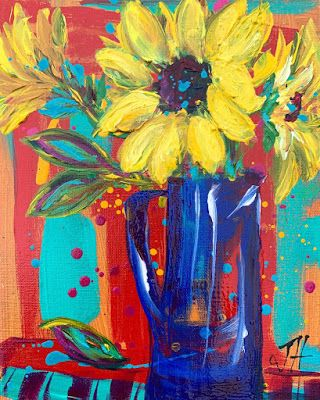 "Expressive Still Life Floral Painting, Colorful Original Flower Art, ""LIL' SUNSHINE FOR ORPHA"" by Texas Contemporary Artist Jill Haglund"