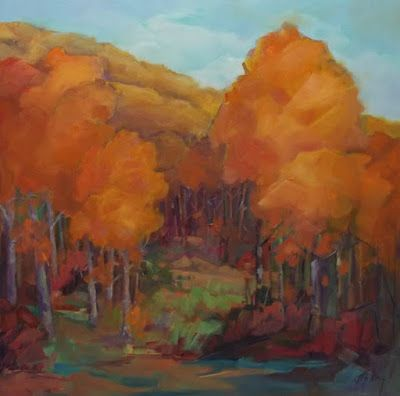 """Impressionist Landscape, Mountain Landscape, Trees, Fine Art Oil Painting """"Last Days of Fall"""" by Colorado Contemporary Fine Artist Jody Ahrens"""