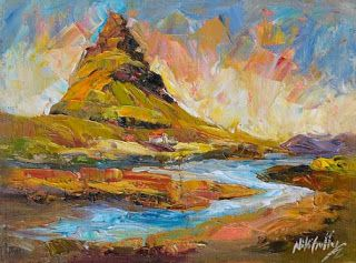 """New """"Golden Light"""" Palette Knife Painting from Iceland by Niki Gulley"""