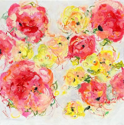 "Contemporary Floral Abstract Fine Art Painting, ""ALTERED SCALE"" by Contemporary Expressionist Pamela Fowler Lordi"