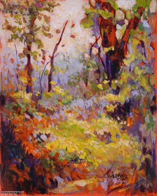 """Contemporary Landscape, Tree Painting, Mixed Media, """"Whispers of the Truth"""", By Passionate Purposeful Painter Holly Hunter Berry"""