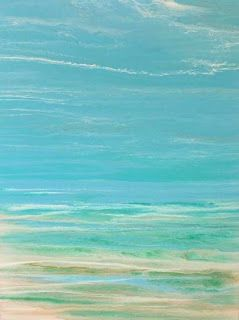"""Contemporary Beach Art, Abstract Seascape Painting, Coastal Art """"Whispers on the Water"""" by International Contemporary Landscape Artist Kimberly Conrad"""