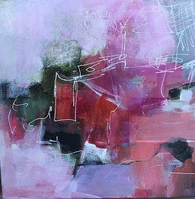 """Abstract Art, Expressionism, Contemporary Painting """"Pinkin' of You"""" by Contemporary Artist Maggie Demarco"""