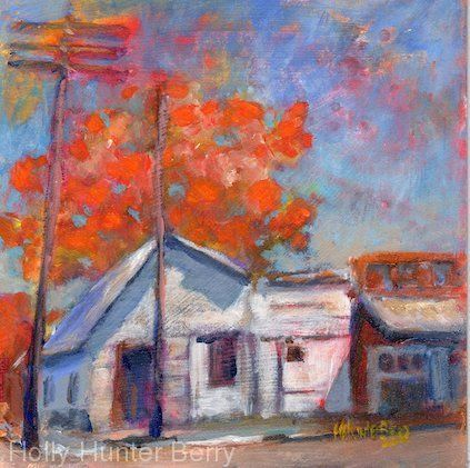 "Contemporary Colorful Landscape Painting, Mixed Media, Fine Art For Sale, ""Small Town"" By Passionate Purposeful Painter Holly Hunter Berry"