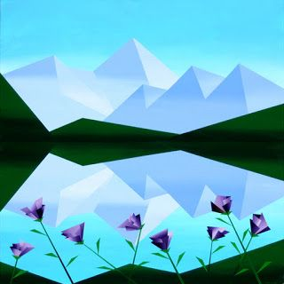 Mark Webster - Abstract Geometric Mountain Lake with Purple Flowers Acrylic Painting