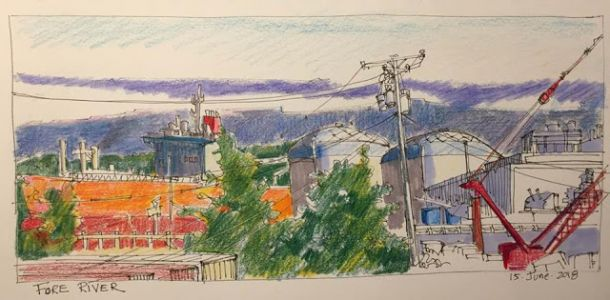 "Day 250 ""Fore River"" ink and pencils 6 x 12"