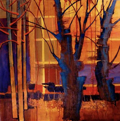 """Abstract Landscape, Tree, Fine Art Print, Contemporary Art, """"Parkview III"""" by Colorado Artist Carol Nelson"""