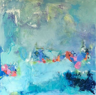 "Blue Art, Expressionism, Abstract Art, Contemporary Painting ""Submerged"" by Contemporary Expressionist Pamela Fowler Lordi"