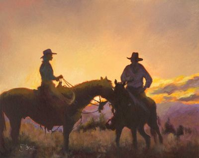 "Original Western Landscape,Equine, Cowboy Painting ""Days End"" by Colorado Artist Nancee Jean Busse, Painter of the American West"