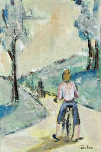 """""""Bicycle Path"""" - Contemporary oil painting by Arizona Artist, Sharon Sieben"""
