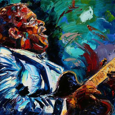 "Colorful Jazz Art, Blues, Music Art Painting, Portrait ""BB King"" by Texas Artist Debra Hurd"