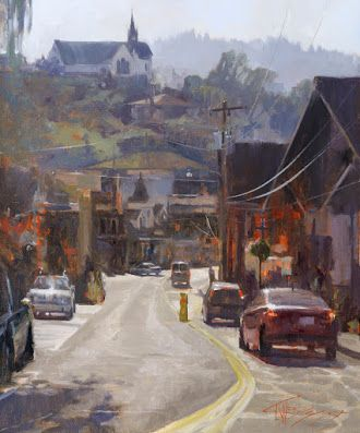 """""""Front Street"""" urban oil painting by Robin Weiss"""
