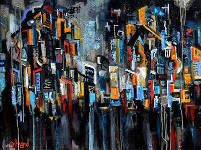 "Urban Art, Manhattan, Contemporary Abstract Street Scene Painting ""Approaching Storm"" by Texas Artist Debra Hurd"