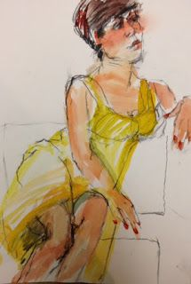 Beautiful model at the Watercolor Society