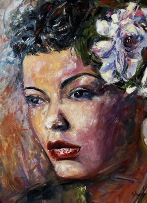 "Female Portrait, Fine Art Original Oil Painting, Jazz Singer, Jazz Paintings, ""Ms. Lady Day"" by Debra Hurd"