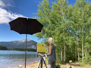 Palette Knife Artist Niki Gulley Painting Tranquility Along the Lake