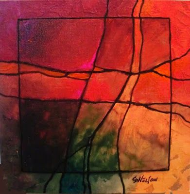 "Fine Art Print, Gemstone Abstract Art ""Gemstone 6R"" by Colorado Mixed Media Abstract Artist Carol Nelson"