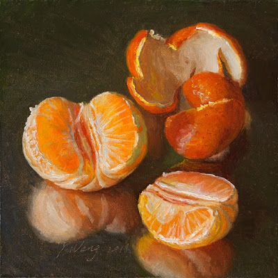 Tangerine pealed mandarin orange still life daily painting small original a painting a day food painting fruit