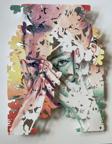 Layers of Cut Paper Foliage Fragment Christine Kim's Collaged Portraits