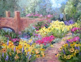Garden Splendor, New Contemporary Landscape Painting by Sheri Jones