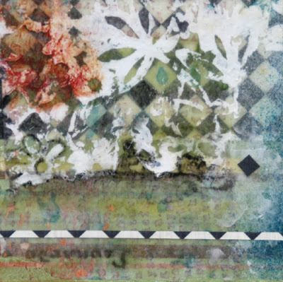 "Mixed Media Abstract Painting, ""Garden Path"" by Santa Fe Contemporary Artist Sandra Duran Wilson"