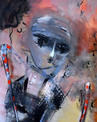 "Contemporary Abstract Expressionist Painting, Abstract Figure ""Light within Mystery"" by International Contemporary Artist Arrachme"