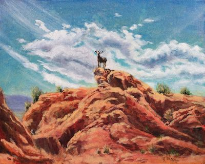"""Wildlife, Bighorn, Western Landscape Painting """"Sure Footed"""" by Colorado Artist Nancee Jean Busse, Painter of the American West"""