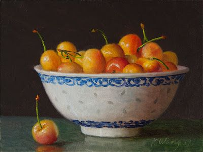 Cherries in a bowl still life painting original small work of art