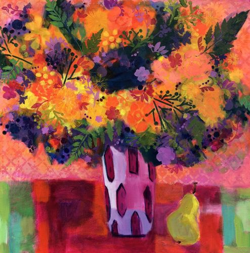 """Contemporary Expressionist Still Life Flower Art Painting """"More Spring"""" by Santa Fe Artist Annie O'Brien Gonzales"""