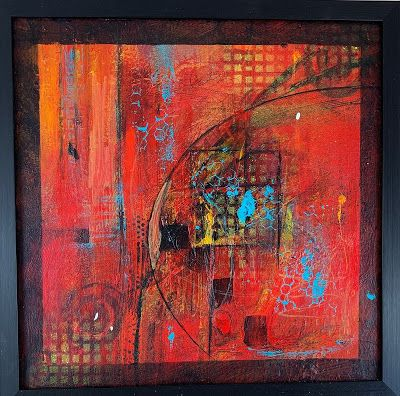 "RED Art, Abstract Art, Mixed Media, Contemporary Painting, ""Poppin"" by Texas Contemporary Artist Sharon Whisnand"